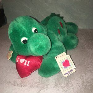 Vintage Plush Green Dinosaur Applause I love you